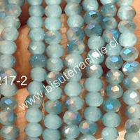 Cristal chino facetado de 4 mm color celeste matizado, tira de 150 unidades aprox