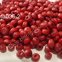 Cuenta de madera color rojo 4 mm, bolsa de 15 grs.