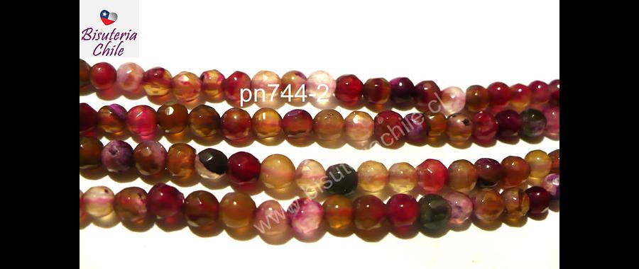 Agatas, Agata de 4 mm en tonos rosados y rojos, tira de 90 piedras aprox