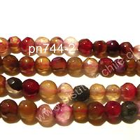 Agata de 4 mm en tonos rosados y rojos, tira de 90 piedras aprox