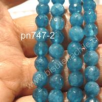 Agata 6 mm, color celeste, tira de 59 piedras aprox