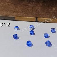 Cristial Austriaco azul tupi de 4 mm, set de 10 unidades