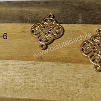 Base de aro o dije doble conexión baño de oro opaco, 20 x 15 mm, por par