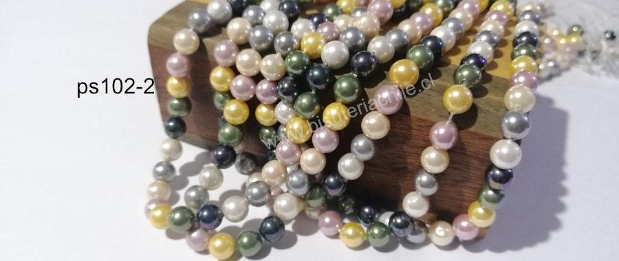 Perla Shell 6 mm, en colores verde, gris, rosado y amarillo, tira de 64 perlas aprox