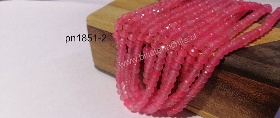 Agatas, Agata RONDELL facetada de 4 mm, rosada tira de 118 piedras aprox