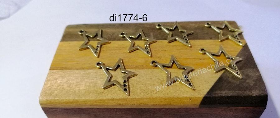 Dije dorado en forma de estrella, 24 x 17 mm, set de 7 unidades