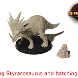 Young Styracosaurus and hatching egg