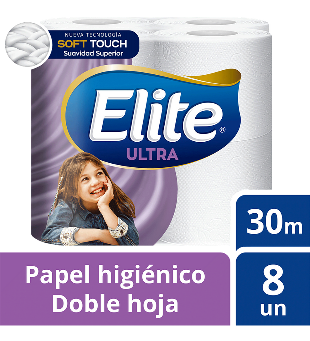 Papel Higienico Elite Ultra Doble Hoja 8 unidades 30m