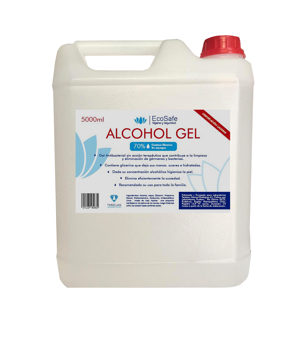 ALCOHOL GEL 5 LTS REGISTRO ISP 2607C-1/20