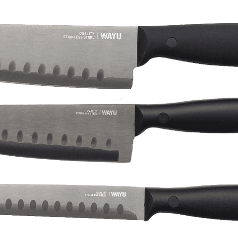 Set 3 Cuchillos Santoku Wayu