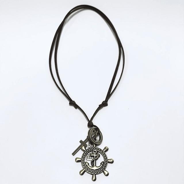 Collar de Cuero ajustable Vintage unisex (colgante)