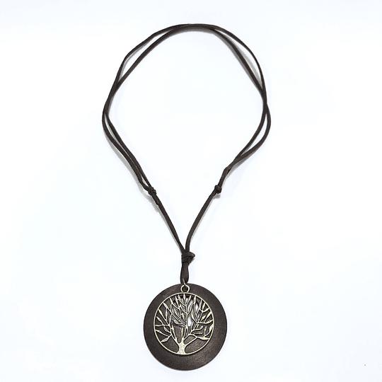 Collar de Cuero y madera ajustable Vintage unisex (colgante)