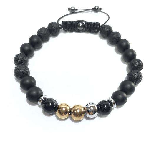 Pulsera Colección Black & 3 Oro