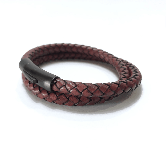 Pulsera doble Cuero (Pulsera broche acero inoxidable)