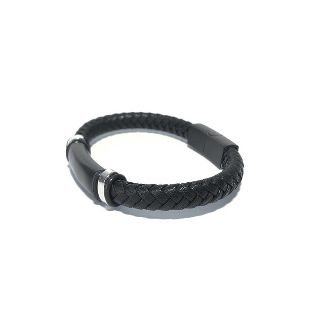 Pulsera Cuero Black Plate
