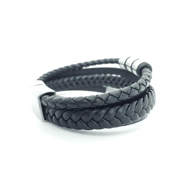 Pulsera Cuero Trenzado y Espiral acero.