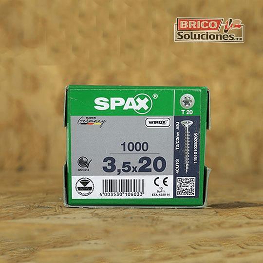 Spax para madera torx 3.5 x 20 mm, T20.   1000pzas