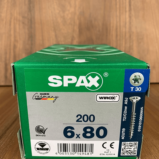 Spax Madera 6 x 80mm T30 200pzs.