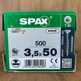 Spax Madera 3.5x50mm MEDIA CUERDA T20 500pz
