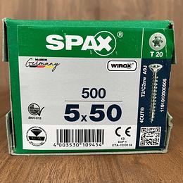 Spax Madera 5x50mm T20 500pz Cuerda completa