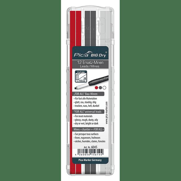 Repuestos para Lapicero Pica BIG Dry ( 4 puntas de Grafito, 4 puntas Blancas & 4 puntas Rojas de 2mm x 5mm x 150mm de largo para uso general )