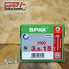 Spax para fijación de herrajes 3.5x15mm T15 1000pz