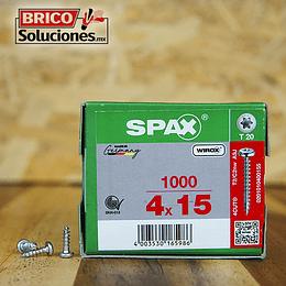 Spax para fijación de herrajes 4x15mm T20 1000pz