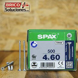 Spax Madera 4x60mm Media Cuerda T20 500pz