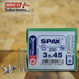 Spax Madera 3.5x45mm T15 200pz cuerda corrida