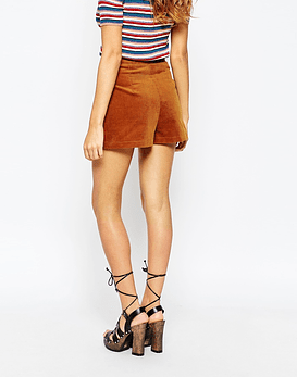 Cord Shorts with Ring Pull Zips