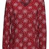 Blusa Rojo Oscuro Estampado Talla 36 Esprit