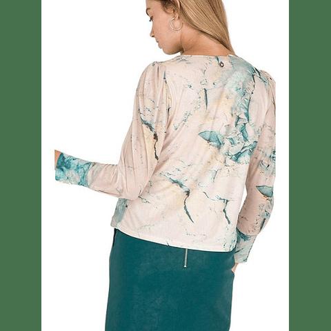 Blusa Mujer Estampada Celeste S Io