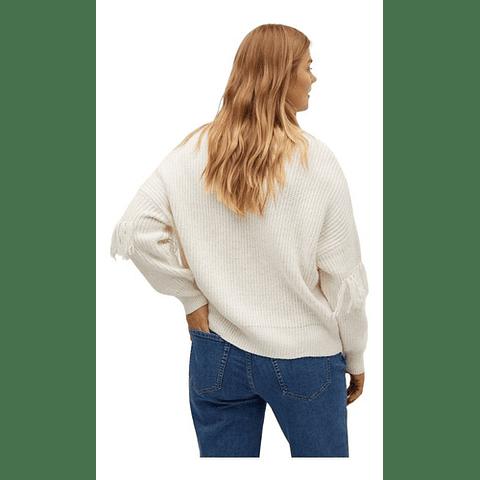 Sweater Flecos Crema L Violeta By Mango