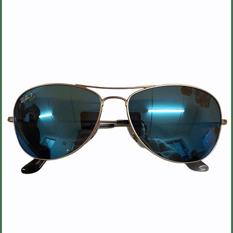 Lentes de Sol Aviator Gold Blue Flash Ray-ban