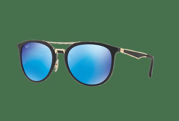 Ray Ban Round RB4285 Matte Black lente Blue Mirror cod. RB4285 601S55 55 - Image 1