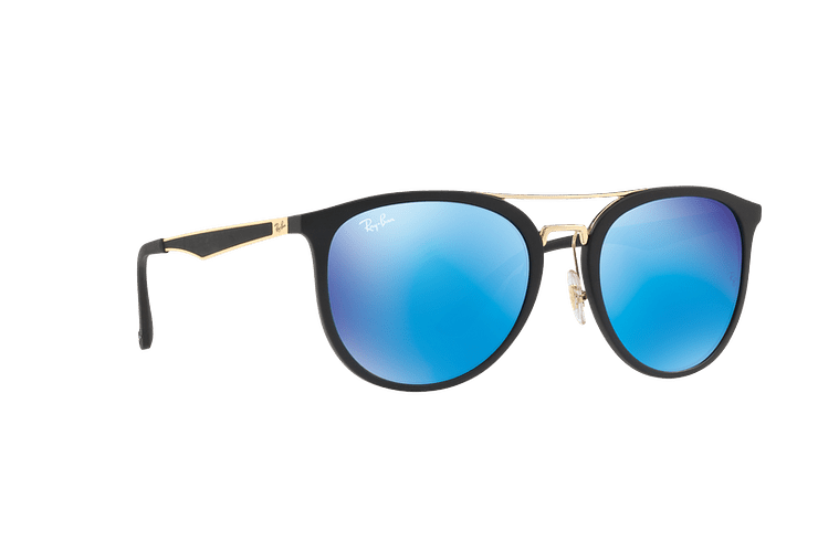 Ray Ban Round RB4285 Matte Black lente Blue Mirror cod. RB4285 601S55 55 - Image 11