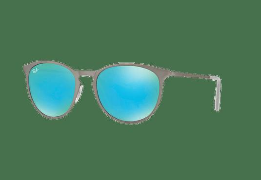 Ray Ban Erika Metal Rubber Gunmetal lente Blue / Green Light Flash cod. RB3539 9015B4 54
