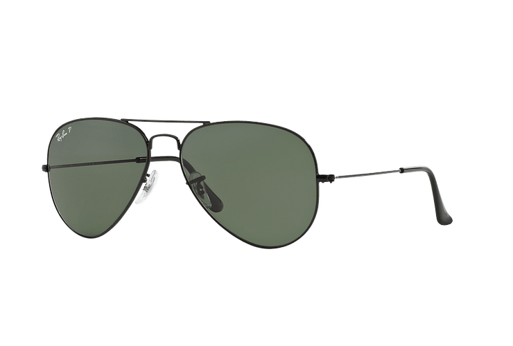 Ray-Ban Aviador Black lente Crystal Green Polarized cod. RB3025 002/58 55 - Image 1
