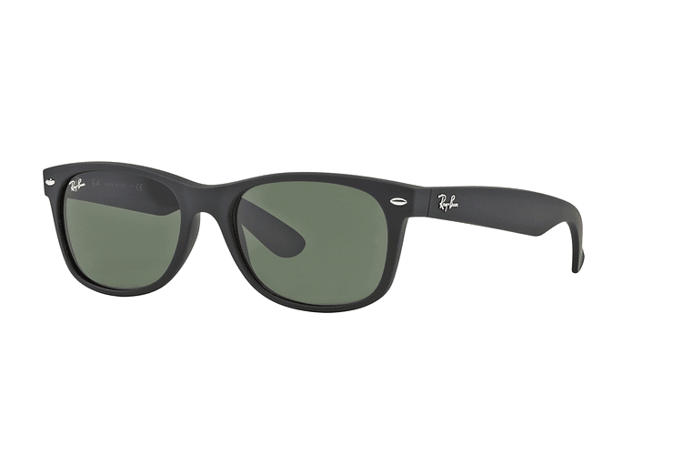 Ray Ban New Wayfarer Black Rubber lente Crystal Green cod. RB2132 622 58 - Image 1