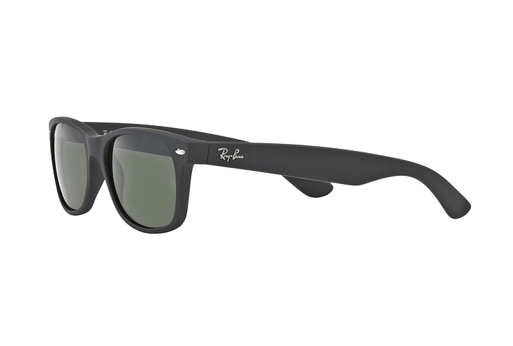 Ray Ban New Wayfarer Black Rubber lente Crystal Green cod. RB2132 622 58 - Image 2