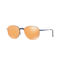Ray-Ban Blaze Hexagonal Blue lente Dark Orange Mirror Gold cod. RB3579N 90387J 58