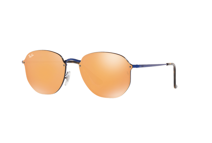 Ray Ban Blaze Hexagonal Blue lente Dark Orange Mirror Gold cod. RB3579N 90387J 58 - Image 1