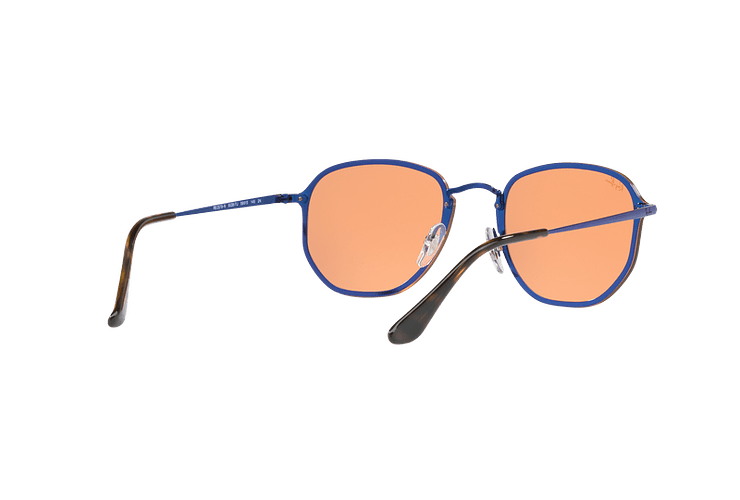 Ray Ban Blaze Hexagonal Blue lente Dark Orange Mirror Gold cod. RB3579N 90387J 58 - Image 7