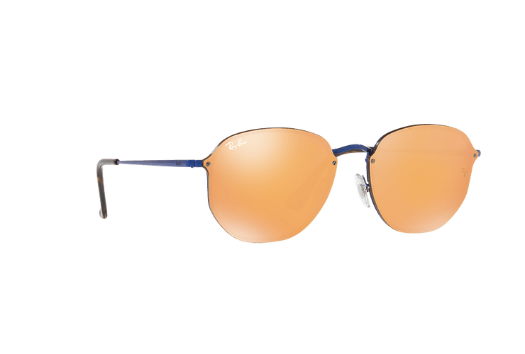 Ray Ban Blaze Hexagonal Blue lente Dark Orange Mirror Gold cod. RB3579N 90387J 58 - Image 11