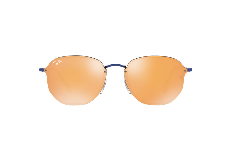 Ray Ban Blaze Hexagonal Blue lente Dark Orange Mirror Gold cod. RB3579N 90387J 58 - Image 12