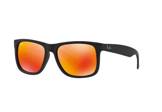 Ray Ban Justin Rubber Black lente Orange Mirror cod. RB4165 622/6Q 54