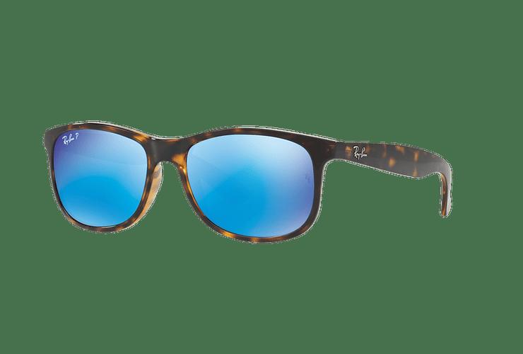 Ray Ban Andy Shiny Havana lente Blue / Green Mirror Polarized cod. RB4202 710/9R 55 - Image 1