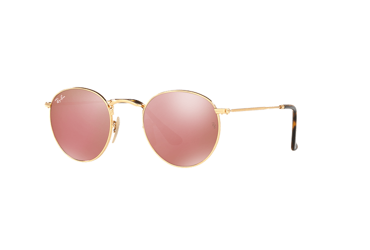 Ray Ban Round Metal Shiny Gold lente Copper Flash cod. RB3447N 001/Z2 50 - Image 1