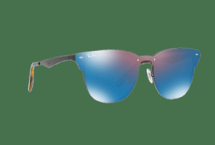 Ray Ban Blaze Clubmaster Black lente Violet / Blue Mirror cod. RB3576N 153/7V 41 - Image 11