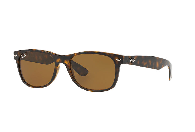 Ray Ban New Wayfarer Tortoise lente Crystal Brown Polarized cod. RB2132 902/57 55 - Image 1
